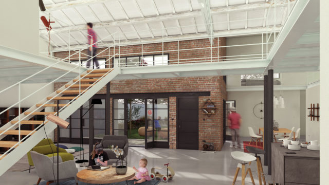 Render di progetto degli interni del Loft centrale