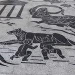 Particolari del mosaico pavimentale nella Stazione Ostiense di Roma