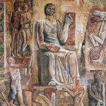 Milano, Palazzo dell'Informazione, particolare del mosaico L'Italia corporativa di Mario Sironi