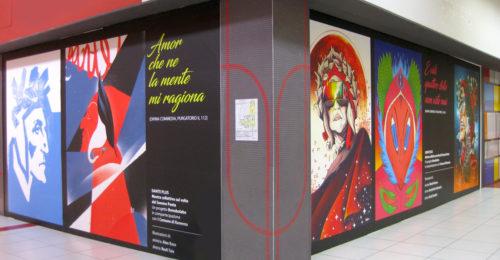 I volti del Sommo Poeta del progetto Dante Plus al centro commerciale Esp di Ravenna